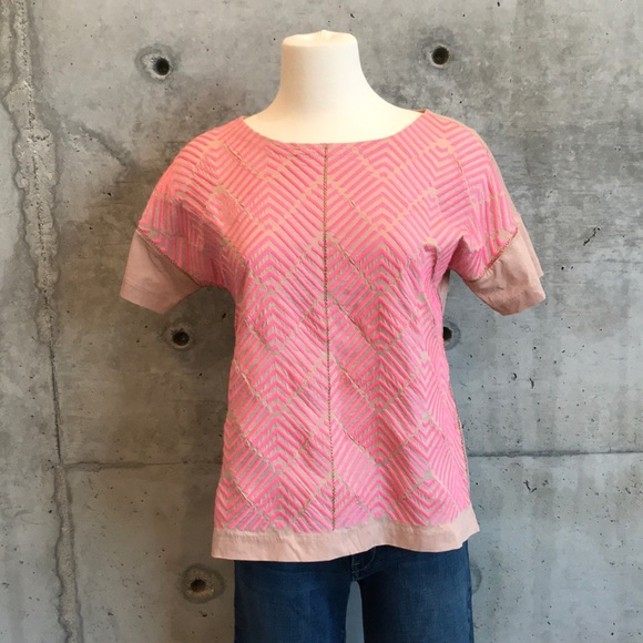 J. Crew Tops - JCREW Rose and hot pink shirt